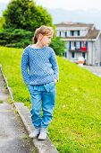 picture of pullovers  - Fashion portrait of a pretty little girl of 7 years old - JPG