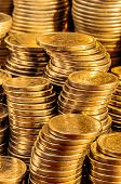 pic of golden coin  - Golden coins stacks business wealth and success concept - JPG