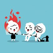 pic of calming  - Friends helping by spray water with fire hose to calm down angry woman concept cartoon illustration - JPG