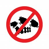 stock photo of counting sheep  - illustration vector of sheep jumping over a fence with forbidden traffic sign - JPG