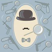 stock photo of investigation  - Detective investigator vector background - JPG