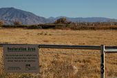 stock photo of restriction  - A restricted area sign in the High Sierra - JPG