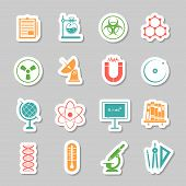 picture of radioactive  - Physics chemistry science  research stickers set with telescope pictogram and radioactivity warning sign abstract isolated vector illustration - JPG