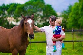 stock photo of feeding horse  - Family on a farm in summer - JPG