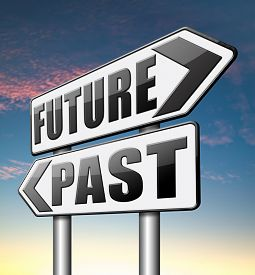 stock photo of past future  - past future predict and forecast near future fortune telling and forecast evolution and progress  - JPG