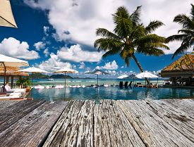image of jetties  - Luxury poolside jetty at Seychelles - JPG