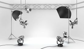 foto of studio  - Empty photo studio with interior equipment on white - JPG