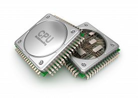 stock photo of cpu  - Modern central computer processors CPU isolated on white background - JPG