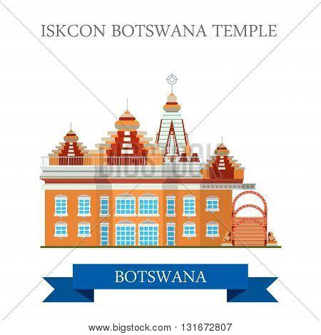 Iskcon Botswana Temple vector flat Africa attraction landmarks