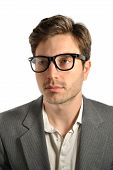 image of dorky  - Portrait of a man with glasses isolated on white - JPG