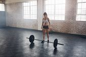 Strong Crossfit Female At Gym With Barbells poster