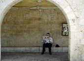 Jewish Man Reading Newspaper