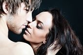 image of kissing couple  - Shot of a passionate loving couple - JPG