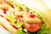 stock photo of hot dogs  - Close up of hot dog - JPG