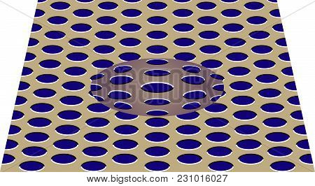 poster of Movement Effect Of Sphere. Sphere Rolls Along Surface. Abstract Background With Optical Illusion Of