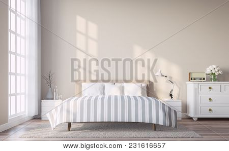 poster of Modern Vintage Bedroom With Light Brown Wall 3d Render.the Rooms Have Wooden Floors And Light Brown