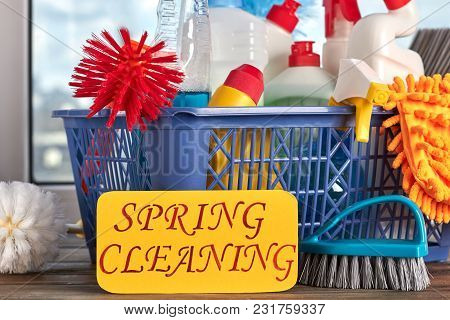 Spring Cleaning Concept With Supplies