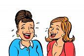 Joyful Girlfriends Women Laugh Isolate On White Background. Comic Book Cartoon Pop Art Retro Vector  poster