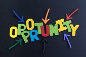 Colorful Arrows Pointing To The Word Opportunity At The Center On Black Chalkboard, Concept Of Futur poster