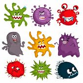 Cartoon Viruses Characters Isolated  Illustration On White Background. Cute Fly Germ Virus Infection poster