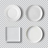 White Plate Set Isolated On Transparent Background. Kitchen Dishes, Plate And Dish Clean For Kitchen poster