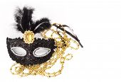 Black carnival mask on a white background poster