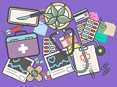 Medicine Banner With Medical Equipment  Illustration. Healthcare, Diagnosis And Treatment, Pharmaceu poster