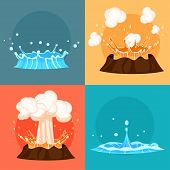 Concept Of Blue Geyser And Red-hot Volcano Four Icons. Magma Nature Blowing Up With Lava Flowing Dow poster