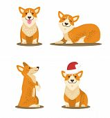 Dogs Collection Of Icons, Domestic Pets And Happy Mood, Canines With Sticked Out Tongue, Closed Eyes poster