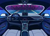 Interior View On Futuristic Self-driving Car On Road At Cityscape. Automobile On Autopilot, Automati poster
