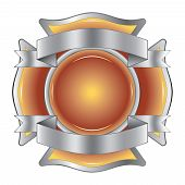 stock photo of maltese-cross  - Vector Illustration of a firefighter Maltese cross made of gemstone with silver ribbons at the top and bottom - JPG
