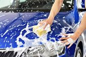 Car Wash - Employees Of A Car Dealership Clean A Vehicle Professionally poster