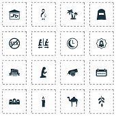 Religion Icons Set With Palms, Mubarak, Bomb And Other Time  Elements. Isolated Vector Illustration  poster