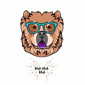 Chow Chow Dog Wearing In Smart Glasses. Dog Geek. Vector Illustration Isolated On White Background. poster