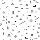 Seamless Pattern With Memphis Style. Abstract Geometric Background With Different Geometrical Shapes poster