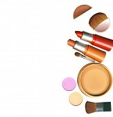 foto of makeup artist  - makeup brush and cosmetics - JPG