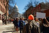 Teens marching to the capitol in protest of gun violence poster
