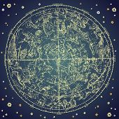 pic of libra  - Vintage zodiac constellation of northern stars - JPG