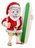 Cartoon Of Surfing Santa Claus Holding A Surf Board And Giving A Thumbs Up In His Hawaiian Board Sho poster