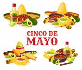 Cinco De Mayo Holiday Icon Set With Fiesta Party Food And Drink. Mexican Festival Sombrero With Chil poster