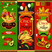 Cinco De Mayo Fiesta Celebration Banners Of Tequila, Jalapeno Pepper Or Cactus And Mustache. Vector  poster