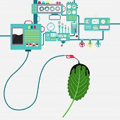 Machinery Of Factory Refining Oil And Spilling Oil On The Leaf. Oil Industry. Biofuel. Conceptual. poster