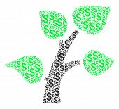 Flora Plant Mosaic Of Dollar Symbols. Vector Dollar Icons Are Grouped Into Flora Plant Illustration. poster