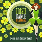 Irish Dance Festival Template. Composition With Irish Dancer Banner And Clover In Cartoon Style For  poster