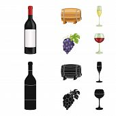 A Bottle Of Red Wine, A Wine Barrel, A Glass Of Champagne, A Bunch. Wine Production Set Collection I poster