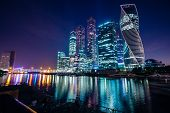 Moscow River At Night On The Bank Of Which The Business Center Of Moscow City Is Located In Night Il poster