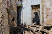 Ruined House Building After Disaster, War. Ruins Of House, War. Abandoned And Devastated Building In poster