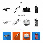 Drawing Accessories, Metropolis, House Model. Architecture Set Collection Icons In Black, Flat, Mono poster