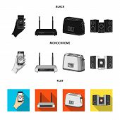 Home Appliances And Equipment Black, Flat, Monochrome Icons In Set Collection For Design.modern Hous poster