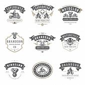 Motorcycles Logos Templates Vector Design Elements Set, Vintage Style Emblems And Badges Retro Illus poster